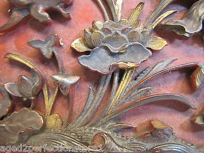 Antique Asian Hand Carved Panel red gold paint flowers bird wall architectural 2