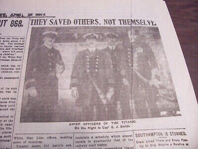 TITANIC NEWSPAPER 1912 Boston Globe/Marsh Murder Story/Ty Cobb Quits Team  !!!!! 9