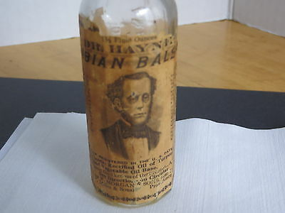 Apothecary Medicine Bottle Dr. Hayne's Arabian Balsam. Prov, R.I. Paper Label 6