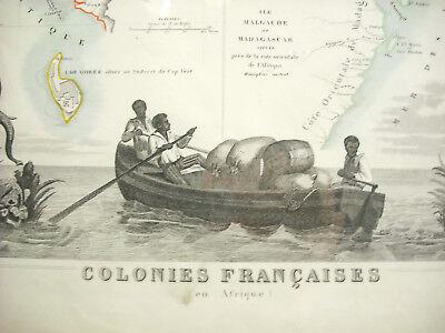 Colonies francesas 1854 África Senegambia Madagascar Senegal Atlas Mapa Map 3