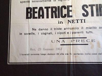 Funeral Poster (1963) La Signora Beatrice Stinco (Husband Nicola Netti) Rare! 5