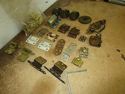 Vintage Misc Pulls Hinges L Bracket Bag of L Hinges Drawer Cabinet Pulls More 11