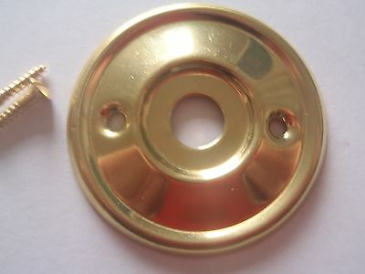 A RE-PLACEMENT BRASS DOOR KNOB BACK PLATE / ROSE 52 mm DIAMETER RIM LOCK ETC. 2