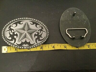 Silver STAR on Silver Oval Black Western Cutout Design New BELT BUCKLE New Metal 4