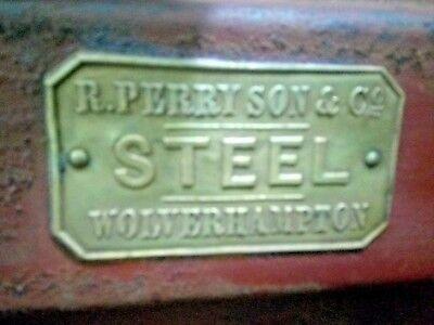 Antique Logo Richard.perry Son & Co Wolverhampton On Tin Box & Brass Lock