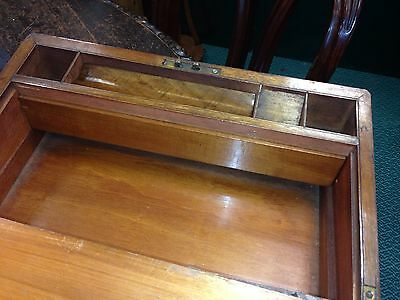 Antique Brass Bound Victorian Walnut  Writing  Box Slope 5