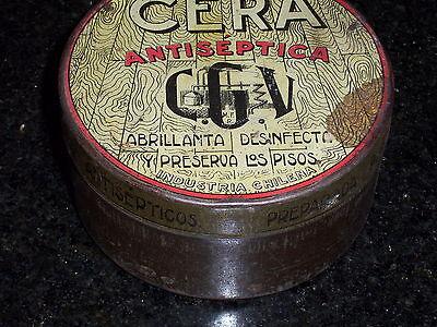 Antique CERA Antiseptic round Tin - Industria Chilena 2