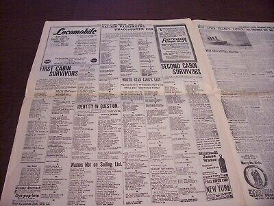 TITANIC NEWSPAPER 1912 Boston Globe/Marsh Murder Story/Ty Cobb Quits Team  !!!!! 7