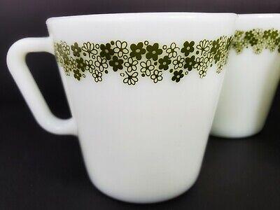 Vintage Retro 3 Pyrex Green Flowers No 1410 Mugs Coffee Cups 300 ml 10.14 oz. 3