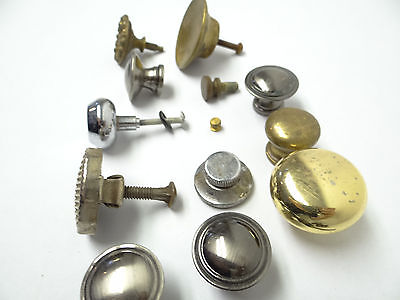 Antique & Vintage Used Old Mystery Metal Brass Drawer Pulls Hardware Round Knobs 12