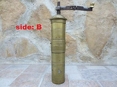 Primitive Antique Ottoman Brass-Carved TUGRA Marked Hand Coffee Grinder 19th #02 5