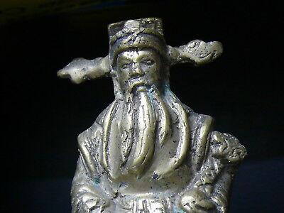 (eN157) Tibet:  OLD BRASSTibetan MAN STATUE FIGURE SIZE 13 CMS 6
