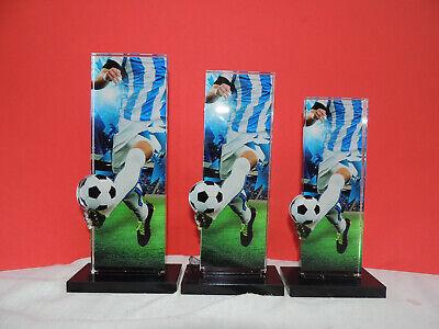 3er Serie Acryl Pokale Fußball Blau/weiß  Pokal inkl.Gravur 2019 APLA 2