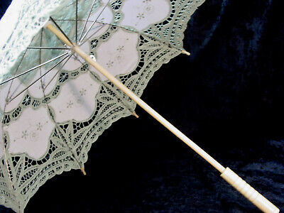 CottonBattenberg Lace Parasol Sage Green and off wht Victorian Edwardian style 8