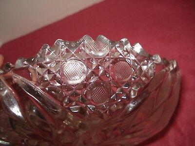 Vtg Flower Burst Abp Clear Cut Glass Nappy Dish Etched Flowers Sgl Loop Handle 8