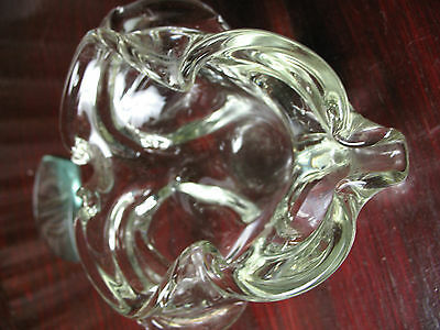 Blown  Cut  Glass  Ashtray  Tint  Beautiful  Exlnt