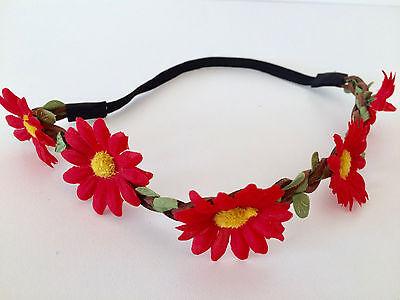 Floral flower headband wedding bridesmaid festival summer boho hair band garland 10