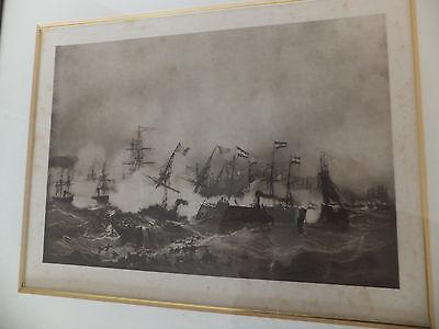 1. Weltkrieg Seeschlacht Bild In Rahmen Masse Ca. 38X32 Cm 3