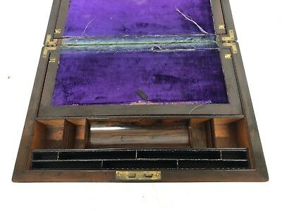 Antique Rosewood & Mother of Pearl Inlaid Writing Box / Slope for Restoration 11
