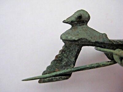 "ANCIENT ROMAN BRONZE FIBULA BROOCH ""Duck"" WITH ORIGINAL PIN 300/400 AD"