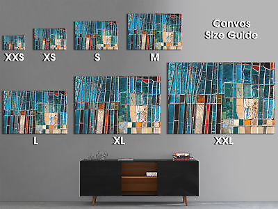 ZAB1195 blue teal red Modern Retro Canvas Abstract Home Wall Art Picture Prints