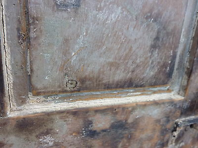"Early 19th century RAISED panel door w/ SMOKED design decor 76 x 30 x 1 7/16"" 10"