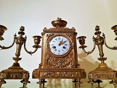 19Th Century French Ormolu Bronze Mantel Clock Garniture. 5