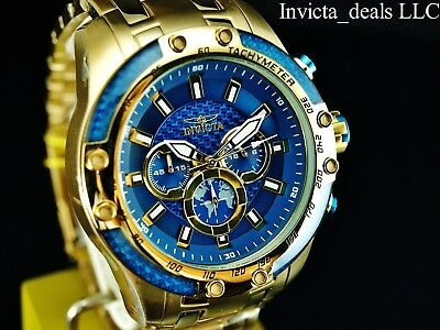 Invicta Men's 50mm SPEEDWAY SCUBA Chronograph Sapphire Blue Gold Tone SS Watch 10