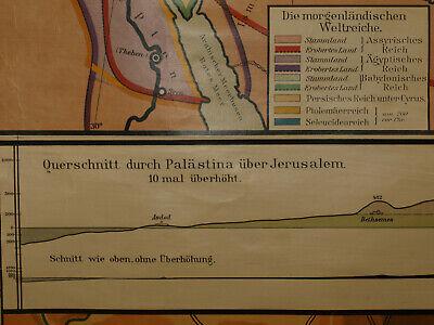 Alte Schulwandkarte Wandkarte Palästina Biblische Länder 202x149cm vintage~1925 10
