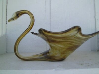 Vtg. Hand Blown Glass Art Swan Bowl Compote Swirl Amber Brown Murano Sculpture