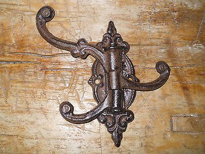 6 Cast Iron Antique Style SWIVEL Coat Hooks Hat Hook Rack Hall Tree Restoration 2