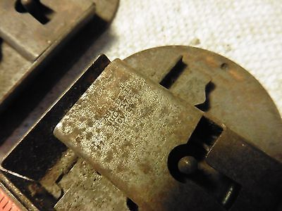 2 Vintage door lock dead bolt latches rounded antique hardware skeleton key hole 2