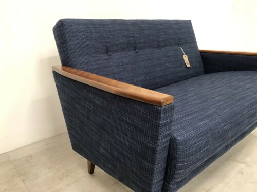 Danish Vintage Inspired Mid Century 50S 2 Seater Cocktail Sofa Settee In Navy 6