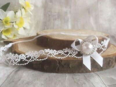 Baby Girl Ivory Christening Headband Baptism Wedding Lace Pearl Hairband Bow 5