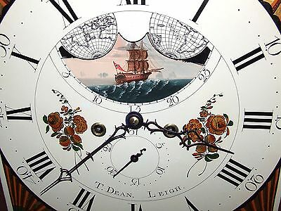 Antique Mahogany Halifax Moon Longcase Grandfather Clock by Thomas DEAN of LEIGH 6