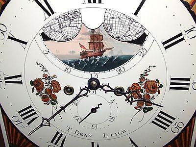 Antique Mahogany Halifax Moon Longcase Grandfather Clock by Thomas DEAN of LEIGH 6