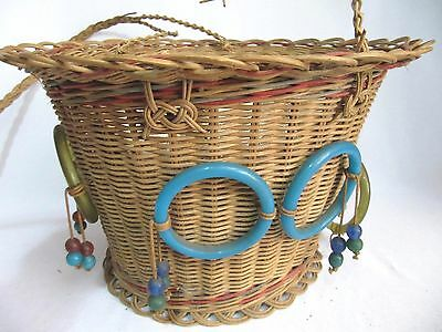 Antique Woven Wicker Reed Round Hanging Sewing Basket~Glass Bead Tassels~Vintage 3