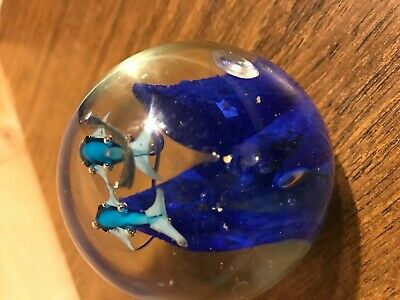 Clear Round Paperweight Blown Glass With Bubbles and Dolphin Fish 5