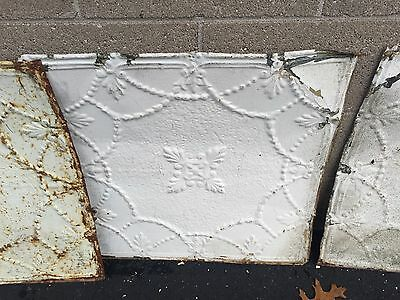 "GORGEOUS antique VICTORIAN tin ceiling pressed white BOW pattern 4 - 24"" sq pcs 3"