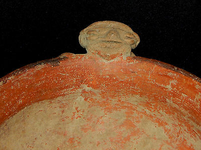 Seated Figure Polychrome Bowl, Authentic Pre-Columbian, Costa Rica 2