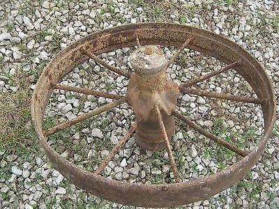 "Pair Vintage Rustic Iron Farm Implement Wheel Farm decor 28"" diameter 4"" thick 5"