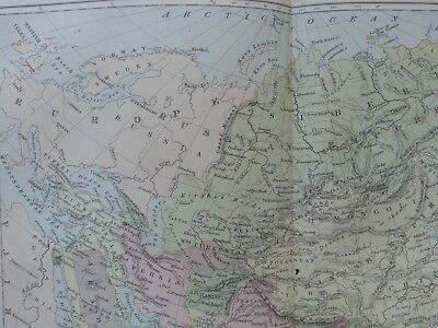 Antique Print Dated 1880 Map Of Asia Colour Map Of The World Atlas Globe Atlas