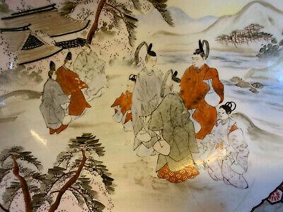 Antique Japanese Signed Kutani Porcelain Bowl w/ Figures in Landscape Decoration 4