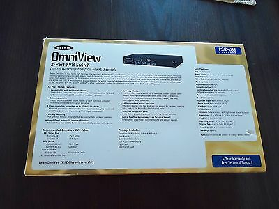 New Omniview 2-Port Kvm Switch Ps/2-Usb Control 2 Computers From 1 Ps/2 Console 2
