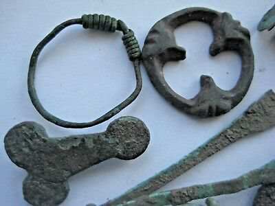 ANCIENT DECORATED RING FIBULAS AMULET CRESCENT PENDANT Viking Kievan Rus 5