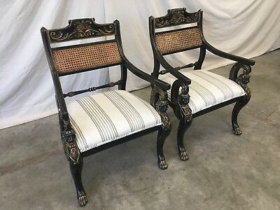 Pair of English Antique Regency Style Cane Back Painted Arm Chairs 10