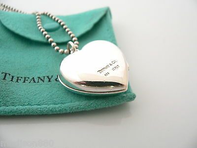 56ba72411 ... Tiffany & Co Silver Large Heart Locket Necklace Pendant 34 In Bead  Chain Pouch 5