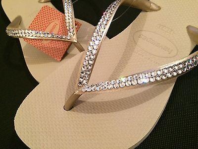 9c7496634fbcd4 ... Havaiana Slim Flip Flop Sandals Swarovski Crystal Customised Wedding  Bling 9