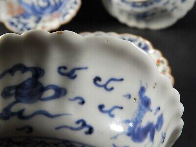 Set Four Antique Japanese Imari Scalloped Rim Bowls Four Character Marks 19th C 4