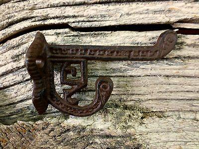 2 BROWN ANTIQUE-STYLE CAST IRON EASTLAKE-STYLE VICTORIAN COAT HOOKS hardware art 4